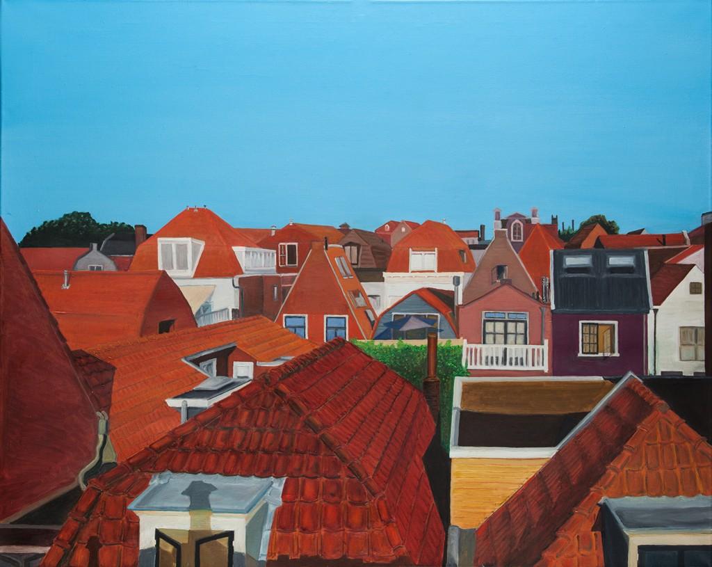 "Widok na Lange Lekenstraat, Holandia Haarlem z cyklu ""Architektura Holenderska"""