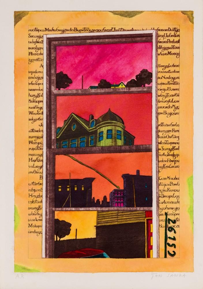 """""""Architektura miasta""""  - ilustracja do albumu:  """"A Book of Fiction"""", Nowy Jork"""